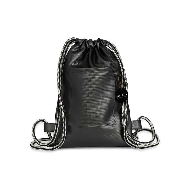 Sackpack Gray Texture (black & white rope)