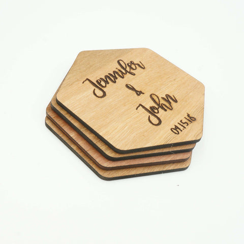 Custom Modern Hexagon Wooden Drink Coasters Couples Name Wedding Date Gift-Set of 6- Le Petit Pain