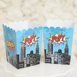 Superhero Popcorn Favor Boxes Batman Superman Theme Red & Blue- Le Petit Pain