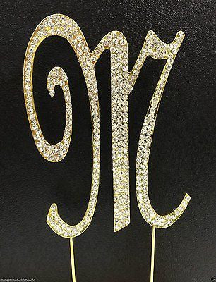 Gold Letter Initial M Birthday Crystal Rhinestone Cake Topper M Party Monogram- Le Petit Pain