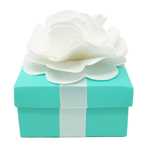 20 Count Robin Egg Blue Favor Gift Boxes with White Flower Ribbon 4x4x2