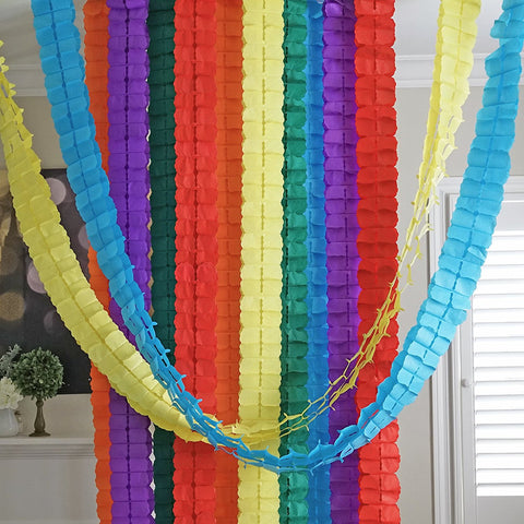 Rainbow 3D Four Leaf Tissue Flower Hanging Streamers Party Decor Backdrop Blue Yellow Green Purple Red Orange- Le Petit Pain