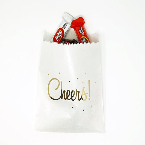White and Gold Cheers Party Favor Gift Bags Popcorn Treat Bags- 48 count- Le Petit Pain