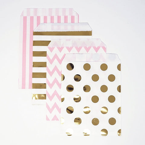 Gold and Pink Polka Dot, Stripe, Chevron Paper Treat Favor Bags 5x7 Gift Bags - 48 count- Le Petit Pain