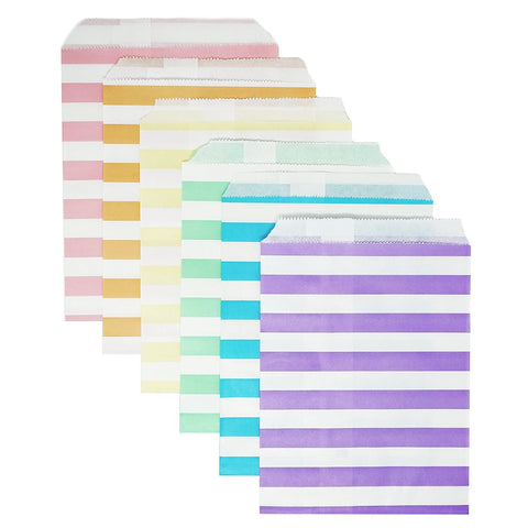 48 Pastel Rainbow Striped Stripes 5x7 Paper Treat Candy Bags Goody Favor Bags - le petit pain