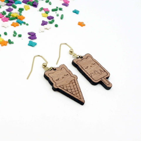 Ice Cream Cat Popsicle Cat Earrings Wooden LPP Cat Food Series