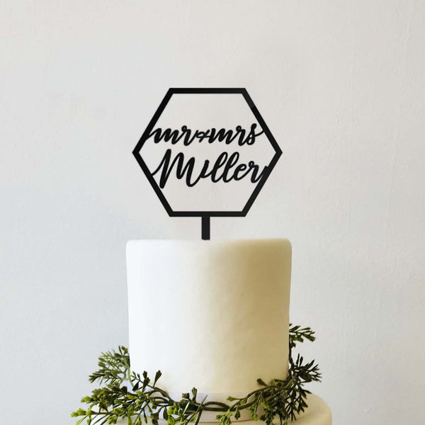 Custom Personalized Mr Mrs Calligraphy Script Name Hexagon Modern Wedding Cake Topper