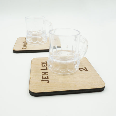 Personalized Escort Card Table Number Wooden Coasters with Miniature Beer Mug Set of 4