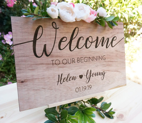 Custom Personalized Wedding Welcome Sign with Easel Wood Names Date Guest Book Table Entrance Sign