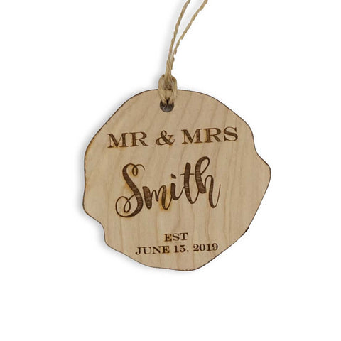 Custom Personalized Mr and Mrs Last Name and Date Wood Ornament Christmas Gift