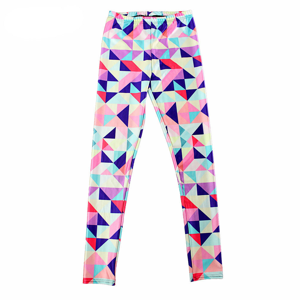 Neon Nation Multi Color Geometrical Square 3D Print Pattern Leggings Pants - Neon Nation
