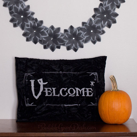 Velcome Halloween Pillow Cover by BubbleGumDish