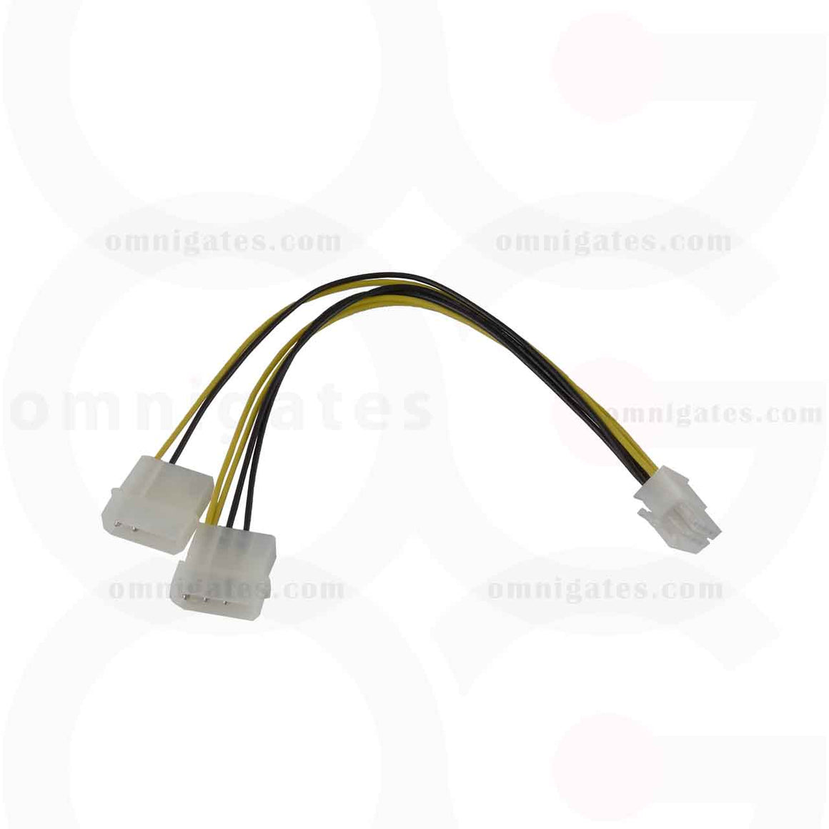 Front view of PCI Express 6 Pin to 5.25 Male x2, Internal DC Adaptor Cable, 8 inches