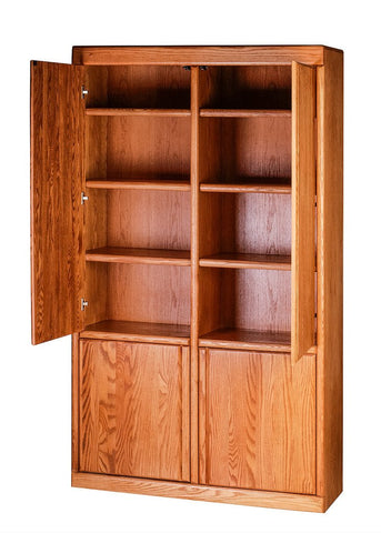 Forest Designs Bullnose Bookcase w/ Full Wood Doors: 48W X 18D Choose Your Height