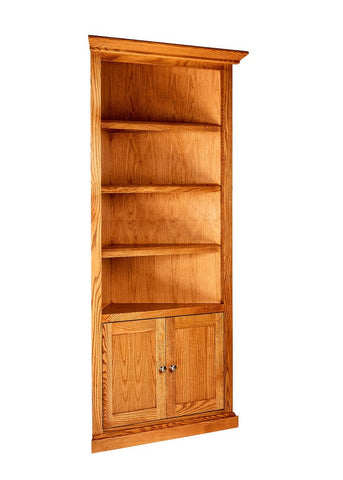 Forest Designs Mission Corner Bookcase: 27 X 27 Choose Your Height w/ 30H Lower Doors