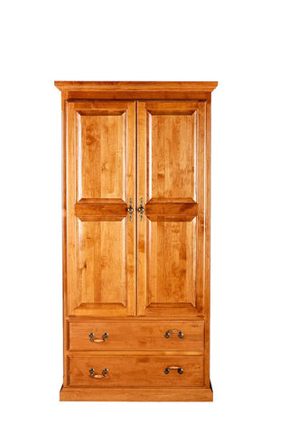 Forest Designs Traditional Wardrobe: 36W X 72H X 21D w/ Two Drawers