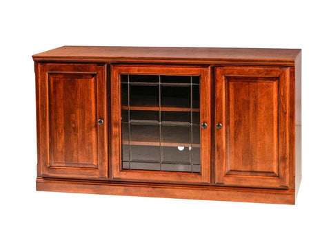 Forest Designs Traditional Alder TV Stand with Media Storage and Black Knobs: 56W x 30H x 21D