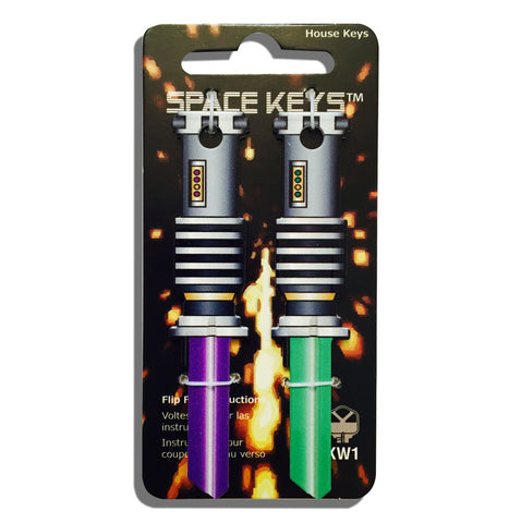 2 Green and Light Purple Saber Shaped Space Keys