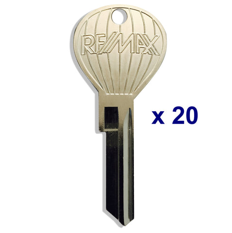 20 pcs. OLD RE/MAX LOGO - Hot Air Balloon Shaped Keys - Nickel Plate Finish