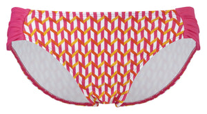 Cleo-Swim-Cindy-Gathered-Bikini-Brief-Pink-Multi-CW0076-Front