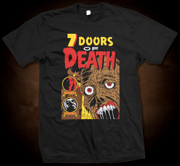 Official Grindhouse Line:  7 Doors Of Death - Gildan Thick 6 oz T-Shirt