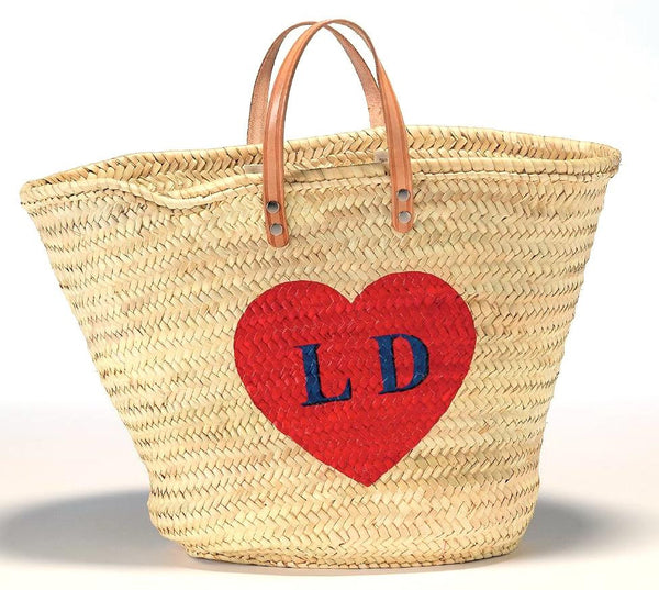 Personalized Straw Beach Bag, Red Heart