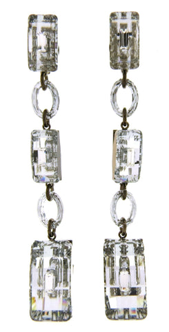 Faceted Crystal & Baguette Triple Drop Earrings