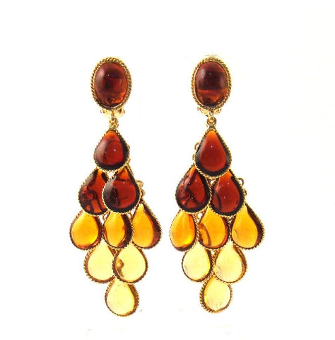 William Earrings, Shades of Amber