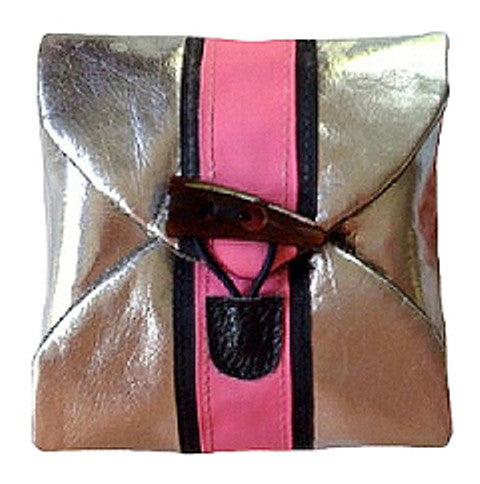 Silver Metallic & Pink Travel Jewelry Pouch