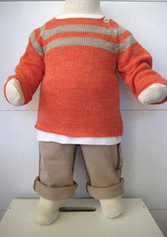 """Hide & Seek"" Boat Neck Sweater,   Tomato/Camel"