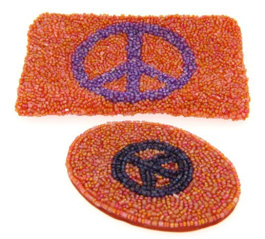 Beaded Cosmetic Bag & Mirror, Peace Sign