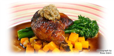 BALSAMIC CHICKEN, ROASTED PUMPKIN WITH HONEY AND CARAMELISED GARLIC