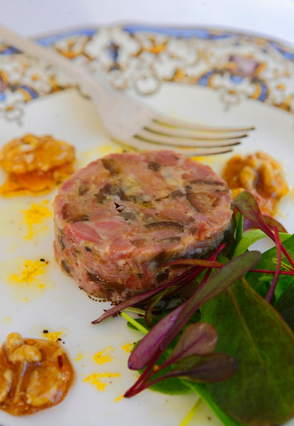 Ham Hock Terrine with Caramelised Walnuts and Orange Dressing