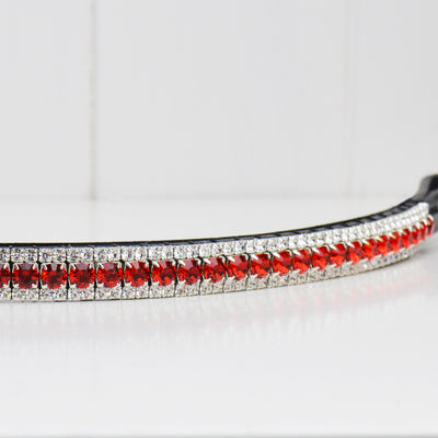 Red and clear crystal browband