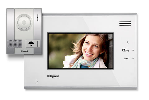 "Legrand Door Entry 7"" Colour Video Kit with HANDSFREE Monitor + Pushbutton IP54 Outdoor Panel with Colour Camera"