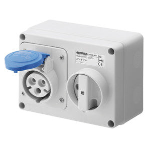 GEWISS INTERLOCKED HORIZONTAL SOCKET-OUTLET - 2P+E 16A 230V - IP44