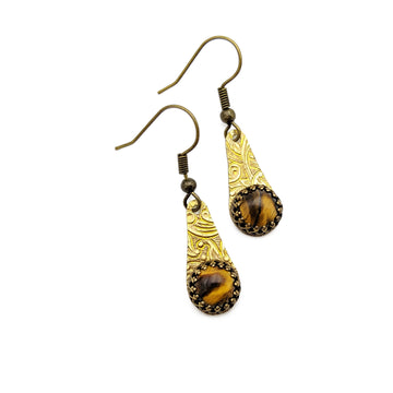 Brass and Tiger Eye Earrings