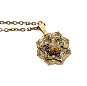 spinning flower mandala necklace with tiger eye