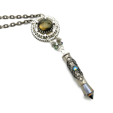 industrial gear necklace with labradorite