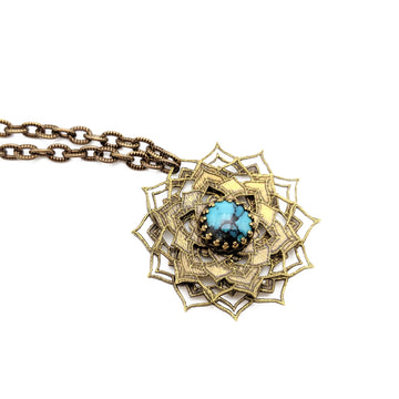 spinning flower mandala necklace with turquoise
