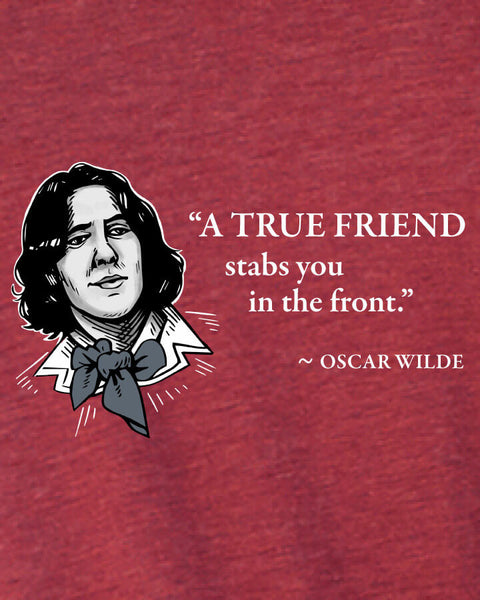 Oscar Wilde on True Friends - Men's Edition - Cardinal Red Heathered - Both