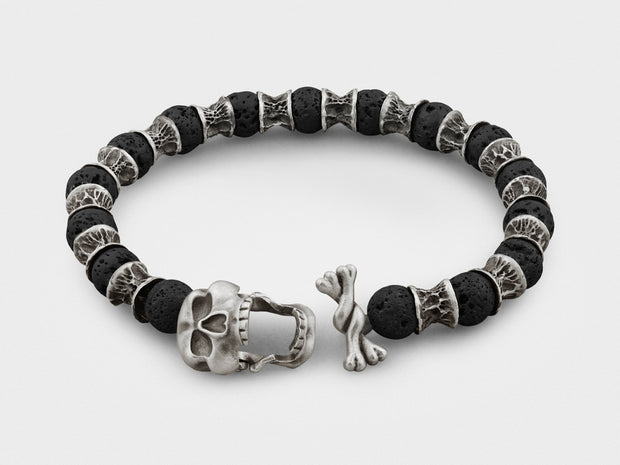 Sterling Silver Skull and Bones, Lava Beads Bracelet