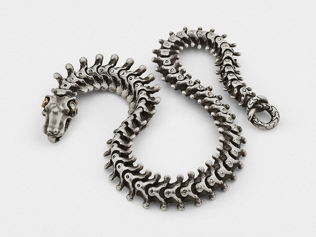Snake Bones Bracelet in Sterling Silver and 18KT Gold with Diamonds