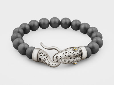 Snake Bracelet with Hematite Beads in Silver, 18K Gold and Diamonds