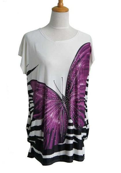 Print Tunic Butterfly  With Beads