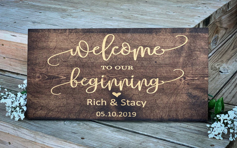 Welcome to our Beginning Engraved Pinewood Sign