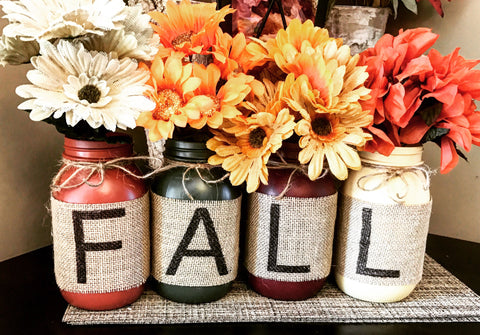 Fall Mason Jars set of 4 - Knot and Nest Designs