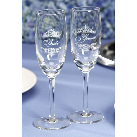 Bride and Groom toasting flutes - Knot and Nest Designs