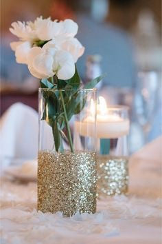 10 pack of Glitter Dipped Vases - Knot and Nest Designs