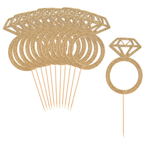 12 Pack Diamond Ring Dessert Toppers - Knot and Nest Designs